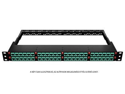 "FibrainDATA HD 19"" 1U patch panel 24x RJ-45 cat.6A UTP modullal"
