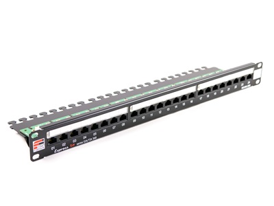 Fibrain patch panel, UTP cat.5e, 24 port, 1U